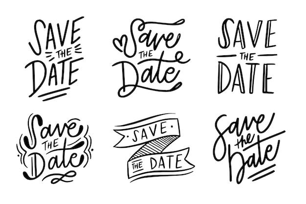 Bewaar het datum belettering pakket