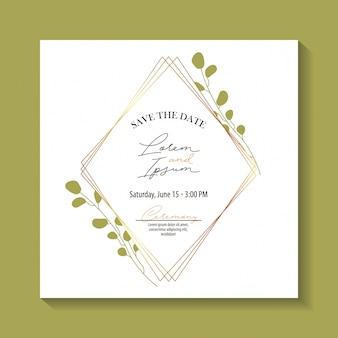 Bewaar het datumetiket met bladerengebladerte