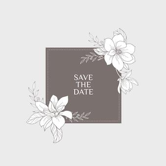 Bewaar het datumhandgetekende magnolia bloemenframe