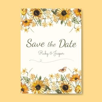 Bewaar het mockup voor bruiloftsuitnodiging