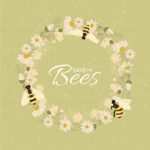 Bewaar het ontwerp van de bijen. briefkaart of poster motief.