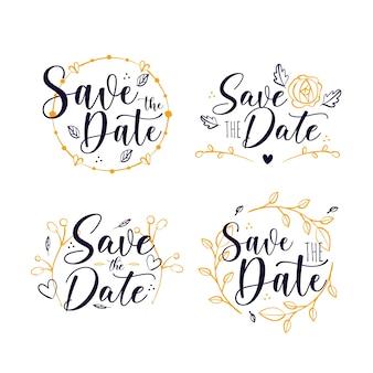 Bewaar het ontwerp van de datum belettering collectie