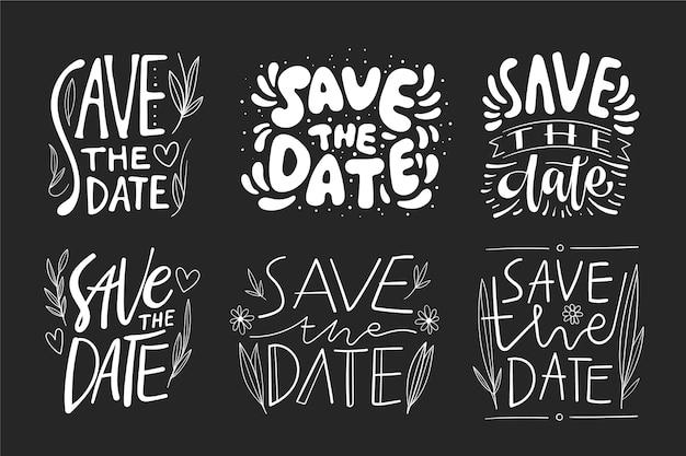 Bewaar het thema van de datumbelettering