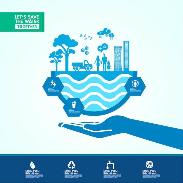 Bewaar het water voor groene ecologie wereld vectorillustratie