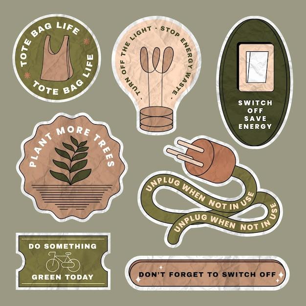 Bewaar milieu sticker vector set in verfrommeld papier textuur