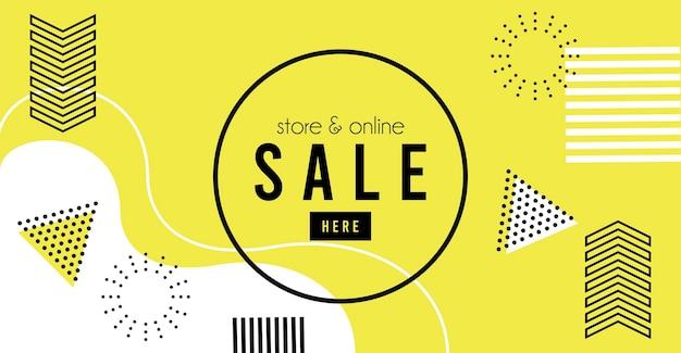 Bewaar online verkoopbelettering op gele memphis achtergrond