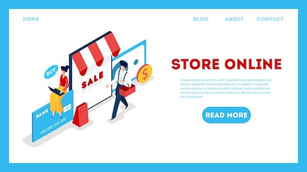 Bewaar online websjabloon. goederen zoeken in online winkel