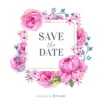 Bewaart het bloemenkader van de waterverf de datumachtergrond