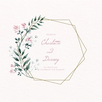 Bewaart het gouden bloemenframe van het huwelijk de datum