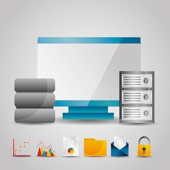 Bewak computerdataservertechnologie-informatie