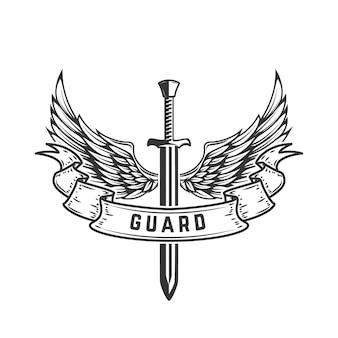 Bewaker. embleemmalplaatje met gevleugeld zwaard. illustratie
