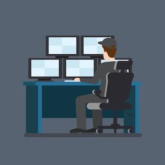 Bewaker kamer camera monitor tafel werkplek. vlakke stijl moderne professionele baan gerelateerde man werkplekobjecten. showcase box telefoon laptop pc voorraad. mensen werken collectie.