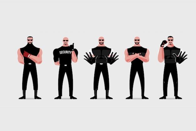 Bewaker of uitsmijter in zwart pak en zonnebril
