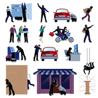 Bewapende inbrekers die misdaden vlakke pictogrammen begaan die op witte achtergrond geïsoleerde vectorillustratie worden geplaatst