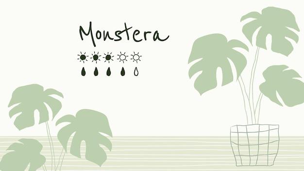 Bewateringskaartsjabloonvector voor monstera