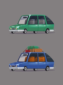 Bewegende familiesedan. retro auto's ingesteld. cartoon stijl.