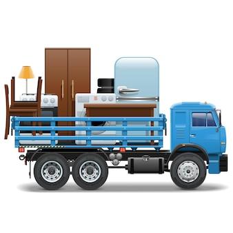 Bewegende illustratie. vrachtwagen die meubels vervoert.