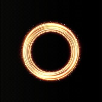 Beweging licht gouden lijnspoor van het ringverlichte podium voor promotionele producten