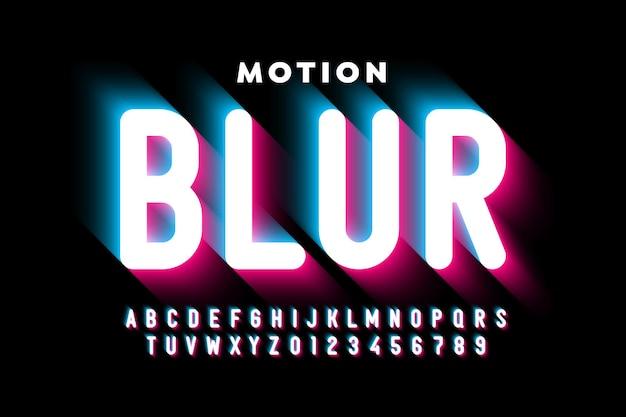 Bewegingsonscherpte stijl lettertype ontwerp, alfabetletters en cijfers