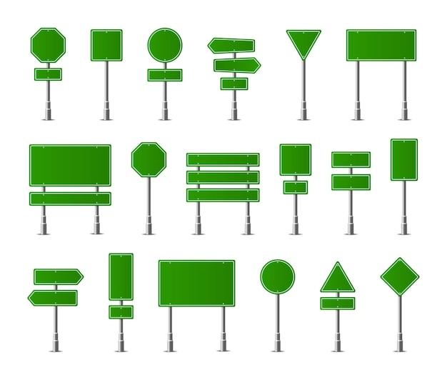 Bewegwijzering waarschuwingsbord stop gevaar voorzichtigheid snelheid snelweg straat bord vector set groene straat verkeersborden