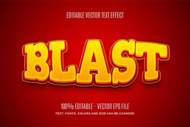 Bewerkbaar 3d-blast rood geel teksteffect eenvoudig te wijzigen of te bewerken