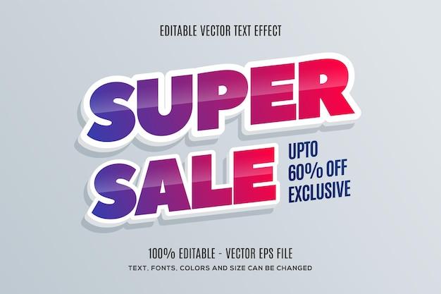 Bewerkbaar 3d super sale-teksteffect eenvoudig te wijzigen of te bewerken