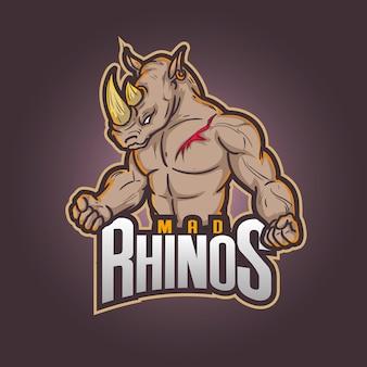 Bewerkbaar en aanpasbaar logo voor sportmascotte, esports-logo gekke neushoorns