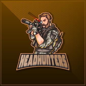 Bewerkbaar en aanpasbaar sportmascotte logo-ontwerp, esports twitch logo leger soldaat militair