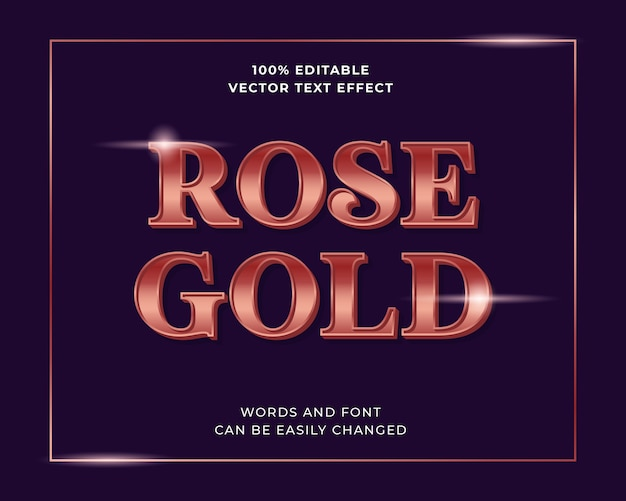 Bewerkbaar glanzend kleurverloop rose goud teksteffect