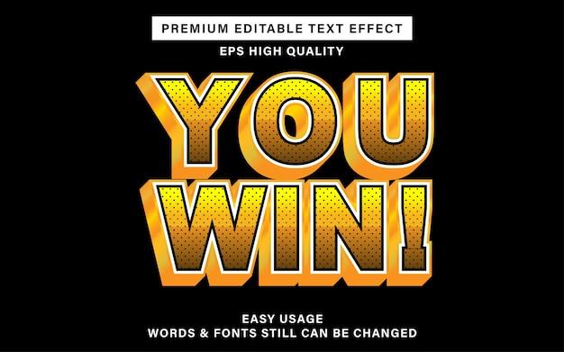 Bewerkbaar lettertype-effect - u wint