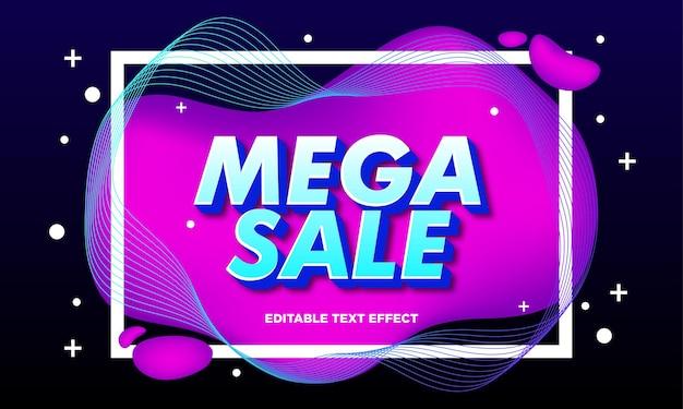 Bewerkbaar mega sale-teksteffect met vloeibare abstracte achtergrond