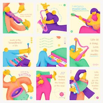 Bewerkbaar muzikant sjabloon vector plat ontwerp met inspirerende muzikale quote social media posts set