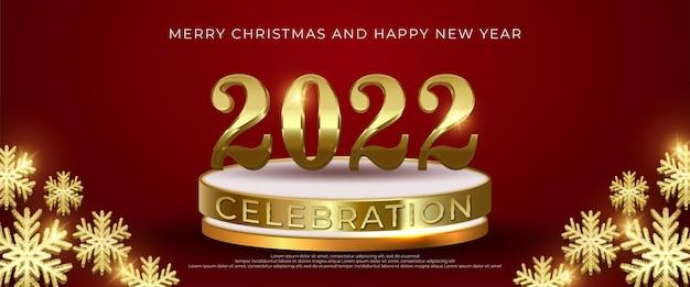 Bewerkbaar nummer 2022 gelukkig nieuwjaar op podium met rode achtergrond
