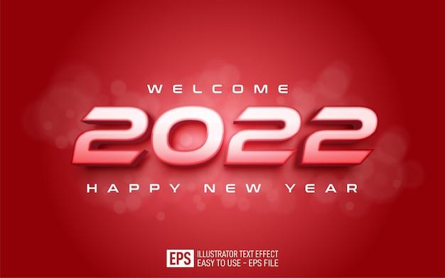 Bewerkbaar nummer 2022 gelukkig nieuwjaar op rode achtergrond
