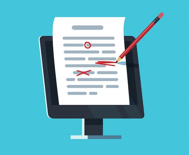 Bewerkbaar online document. computerdocumentatie, essay schrijven en bewerken. copywriter en teksteditor