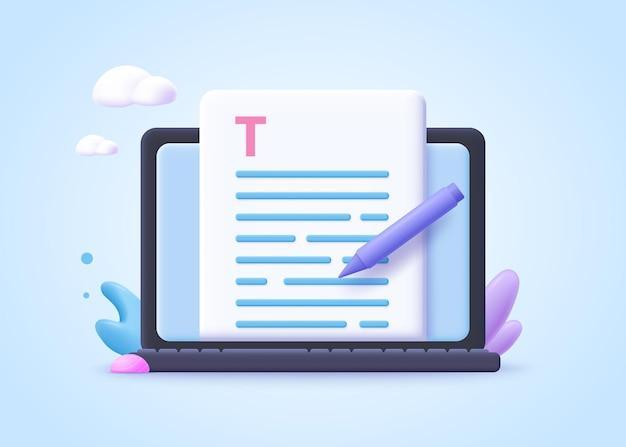 Bewerkbaar online documentconcept. creatief schrijven, storytelling, copywriting, online onderwijs. 3d-vectorillustratie.