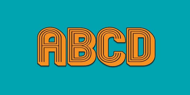 Bewerkbaar ontwerp van abcd-lettertype-effect met slim object