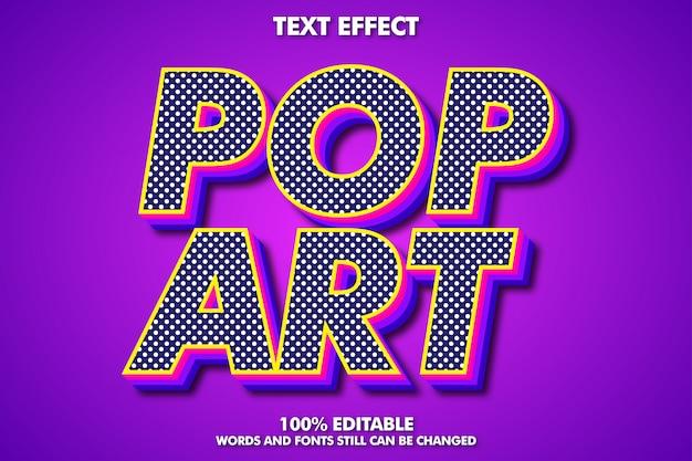 Bewerkbaar pop-art teksteffect, retro typografie