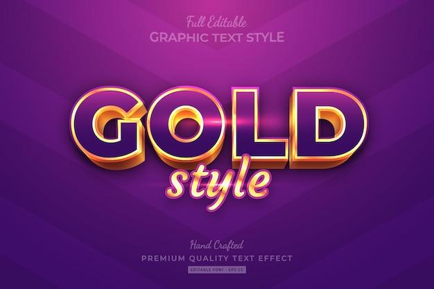 Bewerkbaar premium teksteffect in goudpaarse stijl