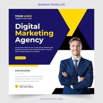 Bewerkbaar professioneel digitaal bedrijfsbureau dat social media post en bannersjabloonontwerp op de markt brengt