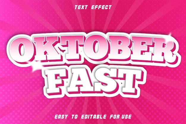 Bewerkbaar tekst effect oktoberfest roze