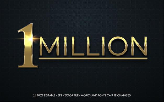 Bewerkbaar teksteffect, 1 miljoen gouden stijlillustraties