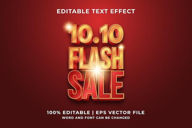 Bewerkbaar teksteffect - 10.10 flash sale-sjabloonstijl premium vector
