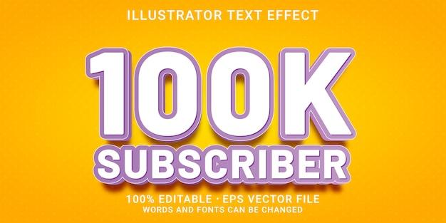 Bewerkbaar teksteffect - 100.000 abonneestijl