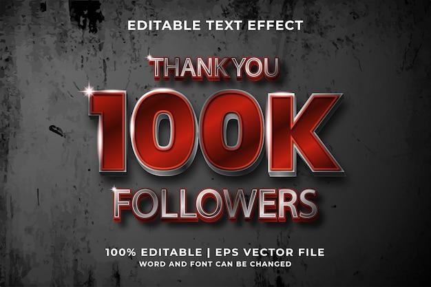 Bewerkbaar teksteffect -100k volgers sjabloonstijl premium vector