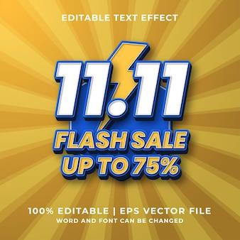 Bewerkbaar teksteffect - 11.11 flash sale-sjabloonstijl premium vector