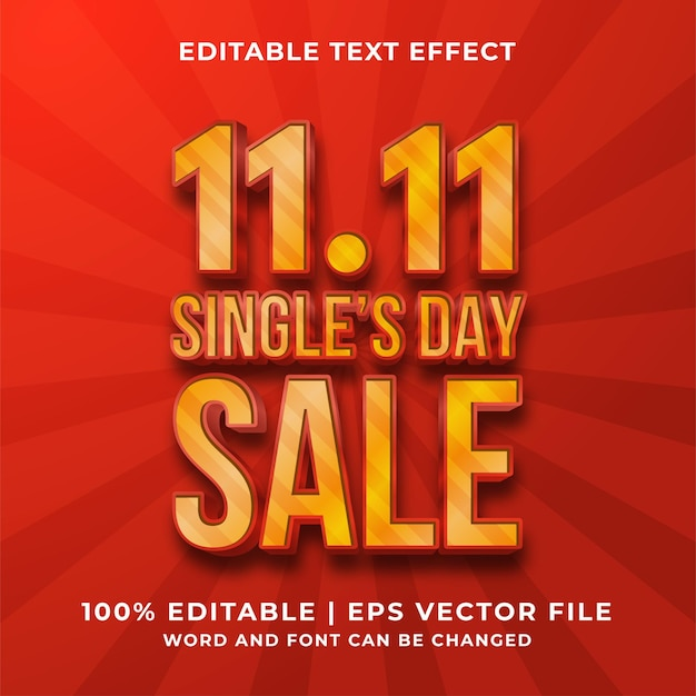 Bewerkbaar teksteffect - 11.11 single day sale-sjabloonstijl premium vector