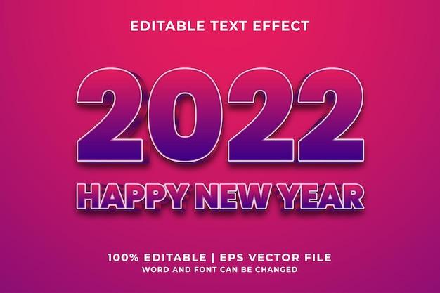 Bewerkbaar teksteffect - 2022 gelukkig nieuwjaar 3d-sjabloonstijl premium vector