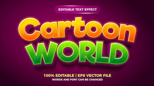 Bewerkbaar teksteffect - 3d-sjabloon in cartoonwereldstijl