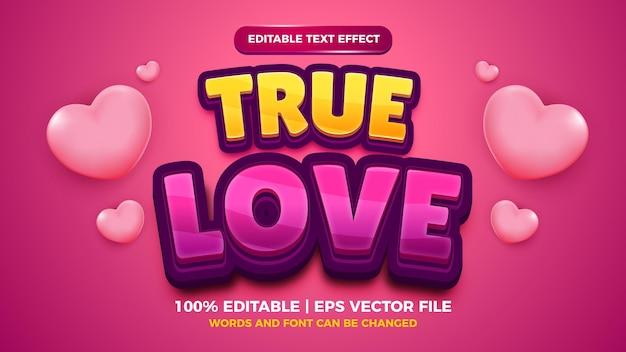 Bewerkbaar teksteffect - 3d-sjabloon in ware liefde-cartoonstijl